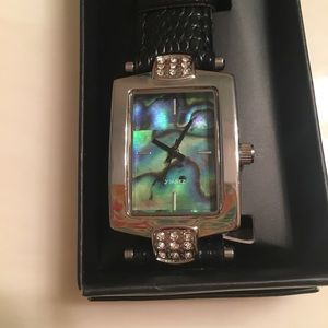 Men's genuine abalone strap watch new in box